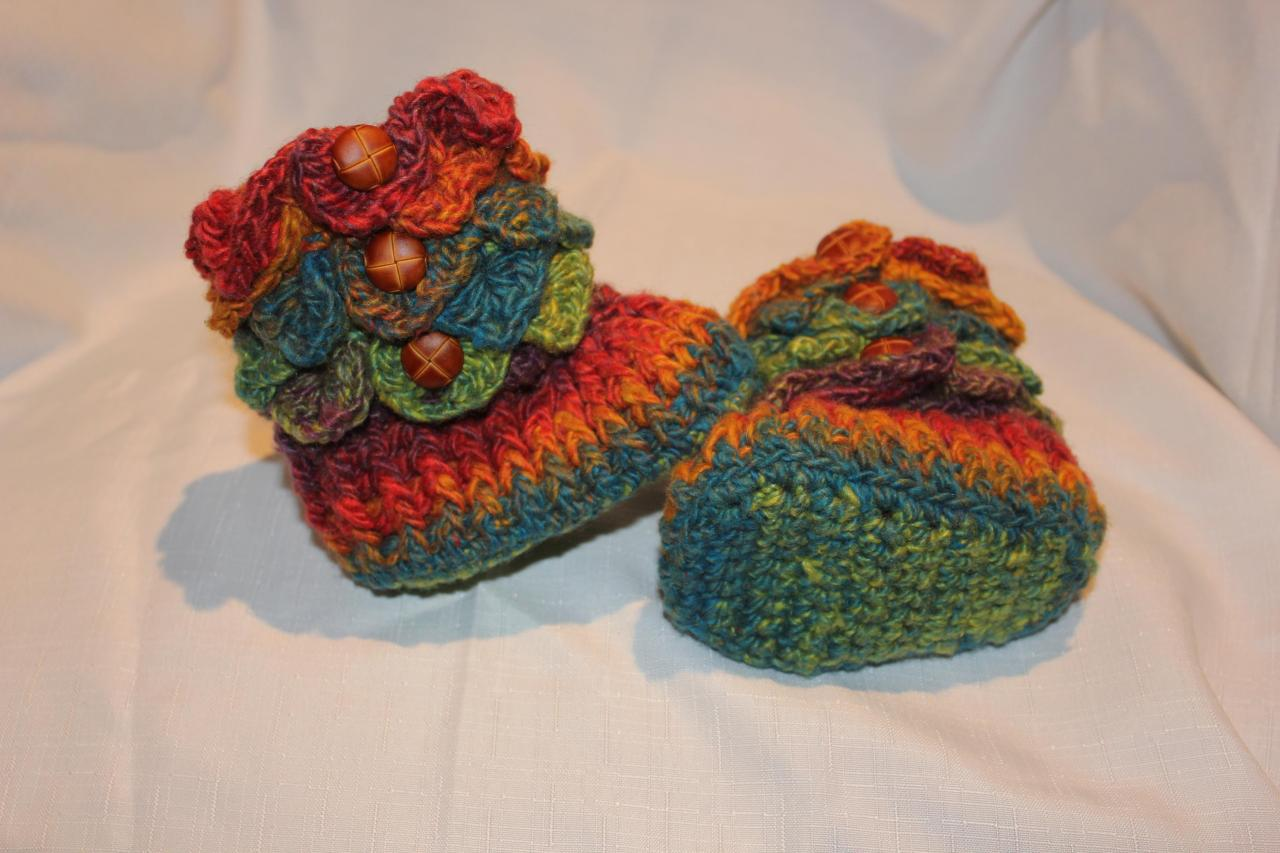Crochet Pattern For Crocodile Stitch Baby Booties : Made TO ORDER/Handmade Crochet RAINBOW Baby Crocodile ...